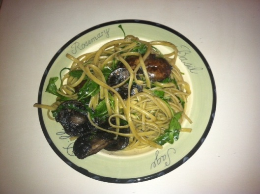 Roasted Mushroom and Arugala Linguini