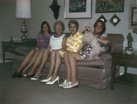 Three generations. From left to right: Me, Grandma, Mom, my sister Debbie