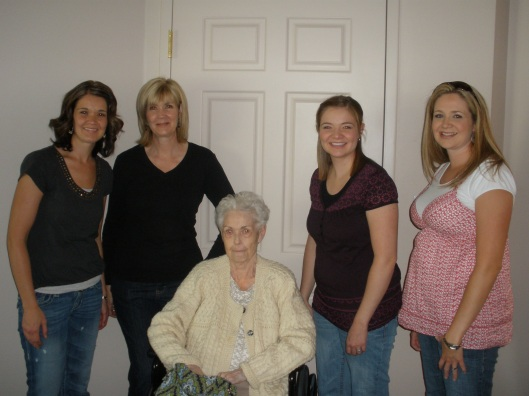 Another 3 Generations. From left to right: My daughter Annie,Me, Mom, my daughter Cara, and my daughter Heather