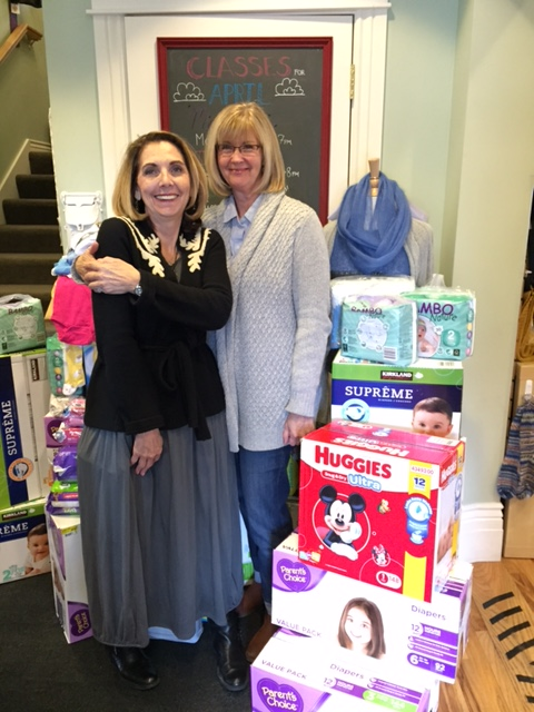 Cynthia Mills and the Blazing Needles Community donated 2240 diapers, 47 packages of wipes and 20 onesies