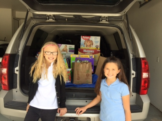 Rachael (right) and Friend (left) Getting Ready to Deliver Diapers to the Utah Refugee Center